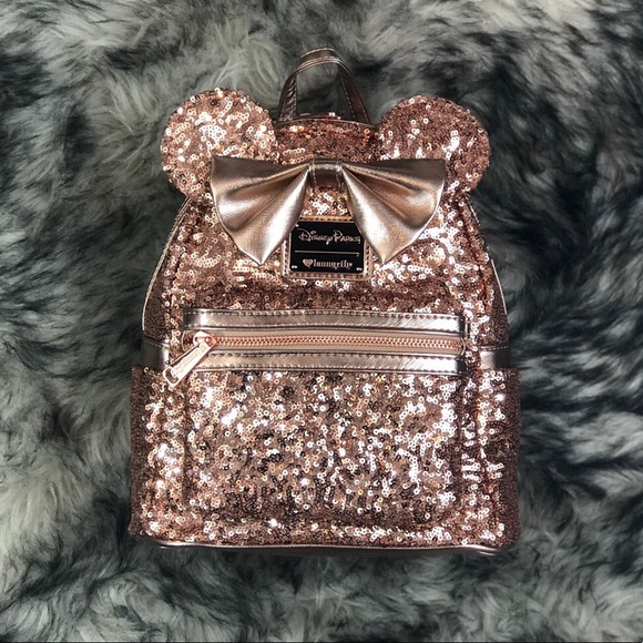 Disney Bags   Parks X Loungefly Rose Gold Mickey Backpack   Poshmark 5fc6f4600a